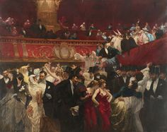 "Charles Hermans 1839 - 1924, Belgian, ""BAL MASQUÉ"" signed Hermans (lower right) oil on canvas, 126 1/2 by 158 in. 321.3 by 401.3 cm"