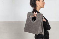 Suede handbag, vintage gray suede, ON SALE!!!