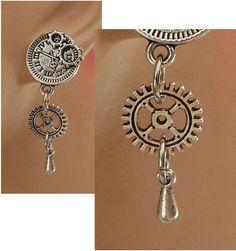 Silver Steampunk Gear Charm Stud Earrings Handmade Hook Fashion NEW Accessories #Handmade #Stud
