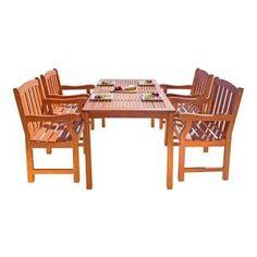 Vifah Malibu 5-Piece Wood Rectangle Outdoor Dining Set V98SET27 at The Home Depot - Mobile