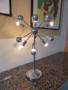 Mid Century Modern Chrome Sputnik Table Floor Lamp MCM, Eames Herman Retro  Funky