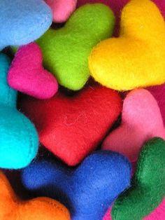 Colorful felt hearts