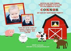 Down on the Farm Birthday Invitation by SweetBeeDesignShoppe