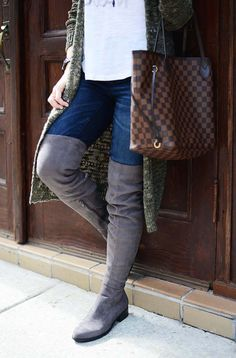 cozy way to wear over the knee boots
