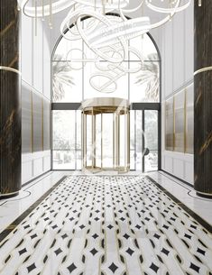 A light color palette combined with contrasting blue, black and gold accents gives this luxury modern hotel interior design a distinctive aura of glamor. Ambiance Hotel, Hotel Door, Tile Covers, Hotel Restaurant, Modern Lighting Design, Black And White Marble, Entrance Design, Hotel Interiors, Hotel Suites