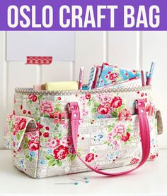Free video+pdf pattern: oslo craft bag craftz colors craft b Bag Pattern Free, Tote Pattern, Bag Patterns To Sew, Sewing Patterns, Free Tote Bag Patterns, Patchwork Bags, Quilted Bag, Diy Sac, Diy Accessoires