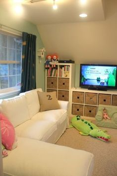 Kids Playroom With Tv eclectic home tour - mountain home decor | playrooms, homework and
