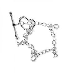 Bracelets White Gold Rhodium Bonded XOXO Charm Bracelet with Toggle Clasp in Silvertone. XOXO features shiny charms worth a thousand words of dazzling sentiment. White Gold Rhodium Bond is achieved using an electroplating process that coats the item with heavy layers of rhodium a close cousin of platinum that costs three times as much which gives our jewelry a platinum luster. Base Metal: Lead Free Alloy Clasp: Toggle Size: Item Weight: 9.5g Carat Weight: Backing: Chain: Length: 195mm Width…