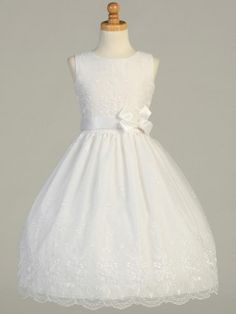 Tea-Length Embroidered Organza Communion Dress