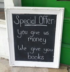 Special offer at The Book Nook in Brenham, TX 11/2014.