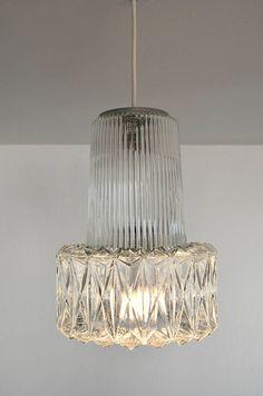 Glashütte Limburg clear glass pendant with geometric pattern   70's retro   Mid Century  