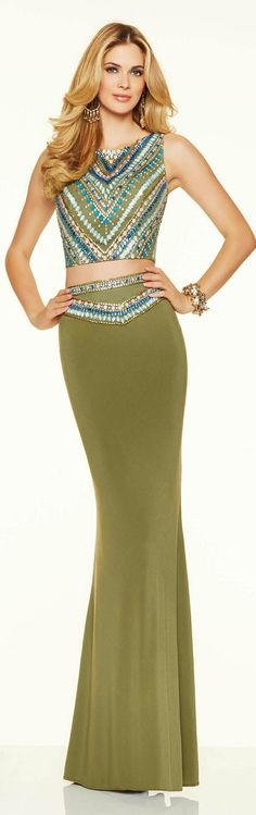 Women's 2-Piece Evening Gown x JOVANI in Olive Green ❤. 2016.