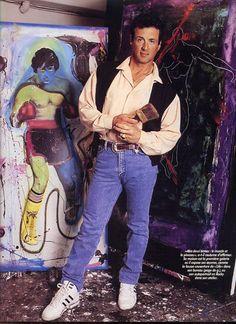 Sly N.B., ly Stallone, Sylvester Stallone, man, paintitng, art