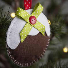 Felt Christmas Pudding Tree Decoration - - A great range of Hanging Christmas Tree Decorations gifts and homewares from The Contemporary Home Online Shop Homemade Christmas Decorations, Felt Christmas Decorations, Hanging Christmas Tree, Christmas Time, Christmas Ideas, Xmas Crafts, Felt Crafts, Christmas Planning, Diy Weihnachten