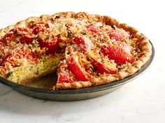 Tomato and Corn Custard Pie Recipe : Food Network Kitchen : Food Network…this was everything I needed it to be! Pie Recipes, Vegetable Recipes, Cooking Recipes, Vegetable Sides, Recipies, Corn Pie, Beefsteak Tomato, Tomato Pie, Tomato Recipe