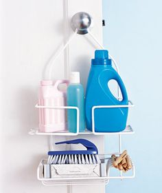 Load high-demand cleaning products in a shower caddy you can tote from room to room.