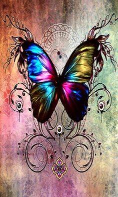 By Artist Unknown. Rainbow Butterfly, Butterfly Kisses, Butterfly Flowers, Butterflies Flying, Beautiful Butterflies, Butterfly Pictures, Butterfly Wallpaper, Pretty Wallpapers, Cellphone Wallpaper