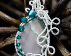 Imperial Jasper and Swarovski Crystal Argentium Wire Wrapped Pendant