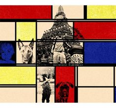 You and your pet in Mondrian style pop art collage!