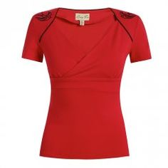 'Paloma' Red Embroidered Jersey Top
