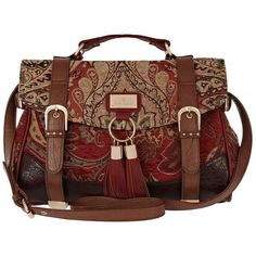 River Island Red Tapestry Satchel ($57) ❤ liked on Polyvore