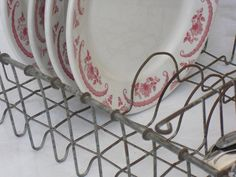 Sold. Vintage Metal Dish Drainer with Cutlery Compartment, Dish Holder, Rustic Kitchen Plate Rack Display, Wire Rack, Kitchen Sink Metal Drainer by AgsVintageCove on Etsy