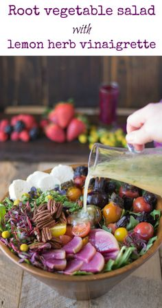 Root vegetable salad with lemon herb vinaigrette is a hearty winter salad. Baby beets, watermelon radishes are roasted and served with an array fresh vegetables.