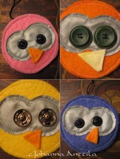 Pöllöt! Owls! Felt Crafts, Diy And Crafts, Arts And Crafts, Sewing Projects For Kids, Easy Projects, Bike Decorations, Textiles, Craft Corner, Working With Children