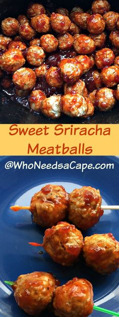 Sweet Sriracha Meatballs are a perfect Slow Cooker Appetizer! A nice combination of Sweet and Heat you're going to love them