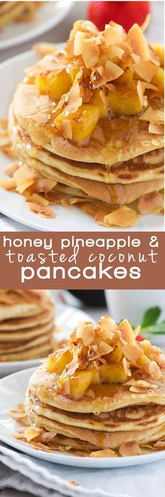 Make with out pineapple? These Honey Pineapple and Toasted Coconut Pancakes are light, fluffy and filled with tropical flavors! These pancakes are the perfect start to a weekend breakfast or brunch! Clean Dinner Recipes, Brunch Recipes, Breakfast Recipes, Dessert Recipes, Pancake Recipes, Dessert Ideas, Cheesecakes, Flan, Crepes And Waffles