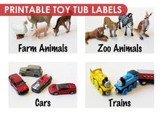 Organising the Kids Clutter: Printable Toy Tub Labels - DIY idea for school: Have a toy photo shoot and print the pictures to attach to toy bins in the Block Room.