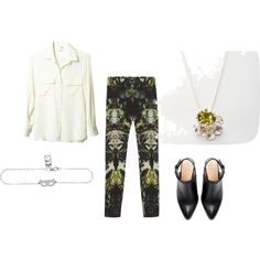 Funky trousers, and a white shirt are key for a cool work day. Wear with a silver cat mask jewellery and cool jewel seaweed necklace. #jewellery #jewels #cats #seaweed #silver