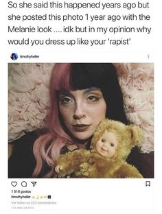 I find this odd. Why would you dress up like your 'rapist' last April 2016 if you kept that 'rape' as a secret for years? Don't get me wrong, I don't support any kind of rapist but this is kind of weird. She is also liking tweets of people unstanning melanie. #melaniemartinez