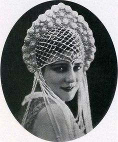 Model in a kokoshnik. Paris, France, 1925. #Russian_costume #old_photographs