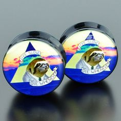 """Black acrylic plugs with a picture of a sloth wearing a suit and says """"Live Slow, Die Whenever"""". Quantity: Sold as 1 pair (2 pieces) Style: round cut plug, 1 side flat 1 side convex, screw fit back Fl"""