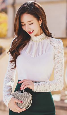 StyleOnme_Pearl and Beading Neckline Detail Floral Lace Blouse #white #lace #floral #flower #pearl #beading #feminine #girly #elegant #formal #pretty #koreanfashion #falltrend #kstyle #seoul #kfashion #highneck #blouse