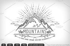Mountains Handdrawn Doodle Vector by Nedti  on @creativemarket