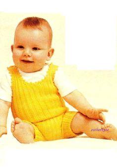VIINTAGE knitting pattern pdf babies rompers by EstherKateVintage on Etsy