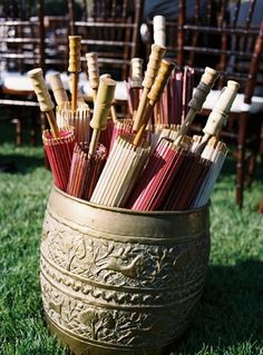 parasols (in varying shades of wedding colors)