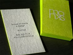 Post image for Michiyo, House of Monks' Neon Business Card_A bright neon yellow color calls attention to the eye by this card for Michiyo of  House of Monks . The logo is at the center and the details are found at the white flip side in case you want to give your eyes a rest.