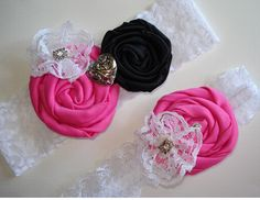 Pink and Black Rose on White Lace Wedding Garter for Bride