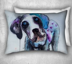 Purple Dog Cushion Cover 26 x 20 inch Cute by StudioEmmaKaufmann