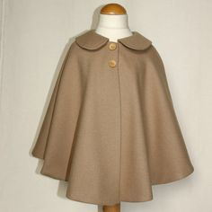 Wool toddler cape Camel poncho Retro style baby by PopelineCo