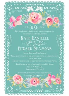 Printable Papel Picado Mexican Floral Wedding Invitation Package, RSVP And  Info Card, Custom Wedding Invite Fiesta
