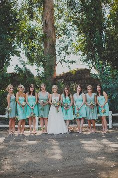Mismatched Turquoise Bridesmaid Dresses