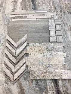 #Greige is the new Grey! Just because it is a neutral doesn't mean it can't be exciting!!! And as the trends swing from greys to beiges, you will have your bases covered! We have so many beautiful stone, porcelain, ceramic and glass options to choose from! #GreigeisthenewGrey (shown in pic: Fantasy Brown Satin Slab, Soh Silver Stack glass and stone mosaic, Sav Wood Tortora wood-look porcelain tile, Eramosa Clay 2x2 Basketweave porcelain mosaic, Chevron Silver Polished stone mosaic, and…