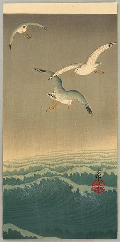 Ohara Koson: Seagulls over the Waves - Ca. 1900-1910