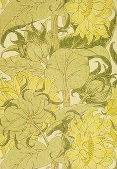 The Cestrefeld Wallpaper by C.F.A Voysey. Block-printed paper. England, 1895.