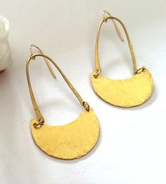 Hammered Brass Moon Arc Earrings by Océanne on Scoutmob Shoppe