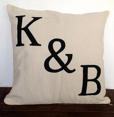 Personalized monogram pillow 18x18 initial by Snazzyliving on Etsy, $28.50